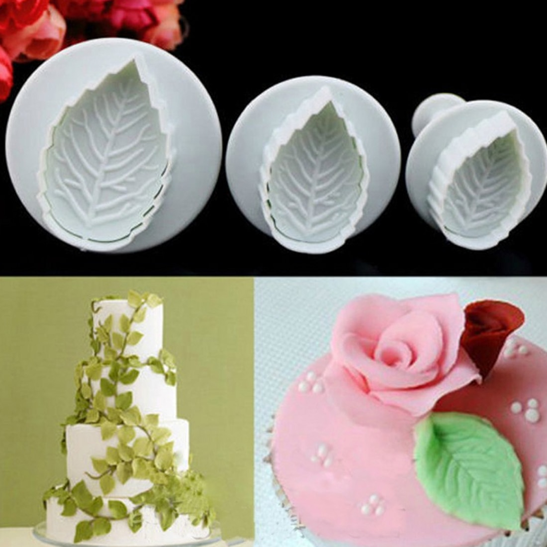 Good sale 3 Pcs Cake Rose Leaf Plunger Fondant Decorating Sugar Craft Mold Cutter Tools
