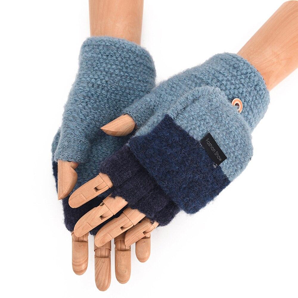 Gants en laine pour hommes   Gants épais et chauds, tricotés sans doigts, mitaines mi-doigts, ensembles à main, hiver