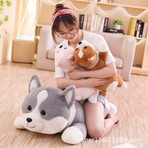 Bonito bunda gorda welsh corgi pembroke cão animal travesseiro presente de aniversário almofada boneca de brinquedo de pelúcia Enorme