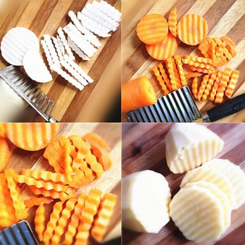 Cortador de patatas de cocina, cortador de patatas fritas de acero inoxidable, cortador de cuchillos de cocina MYDING
