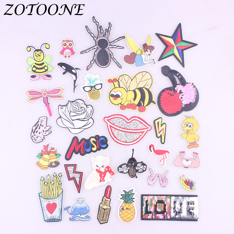 ZOTOONE Flamingo Flower Reversible Sequin Patches Iron on for Clothing Music Embroidery Stickers DIY Apparel Accessories