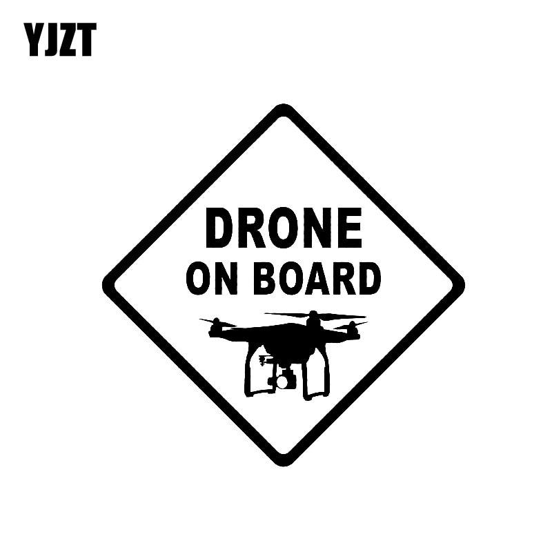 YJZT 13.5CM * 13.5CM DRONE na pokładzie winylowa tablica naścienna UAV Quadcopter samochodów naklejki czarny/srebrny C3-0172