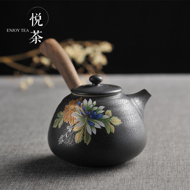 Tetera de madera hecha a mano estilo japonés Tetera de cerámica fambe kungfú chino tetera de porcelana filtro arcilla antigua