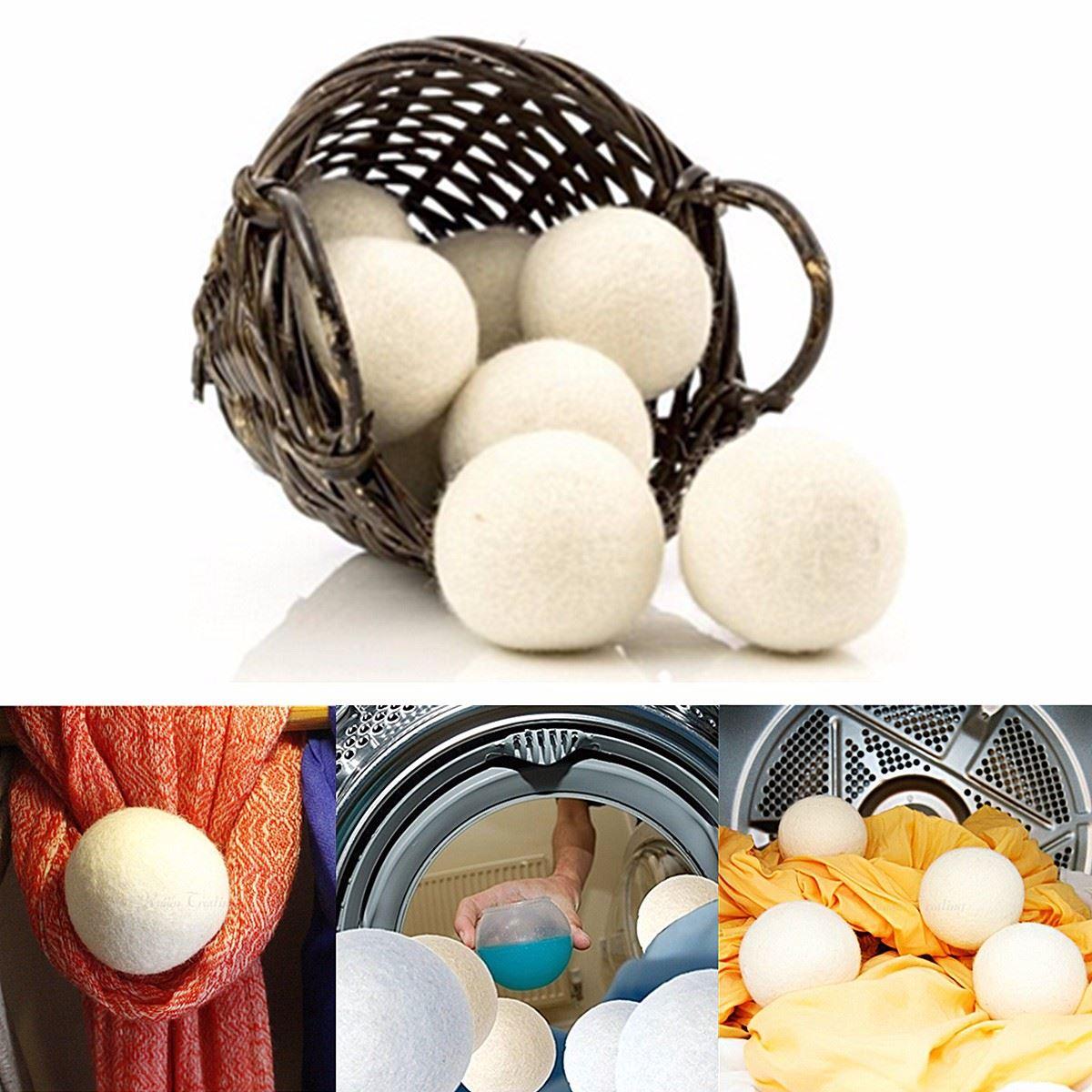 6 unids/pack bola para lavar la ropa reutilizable Natural suavizante de tela orgánico para lavandería bola secador de lana orgánica Premium bolas