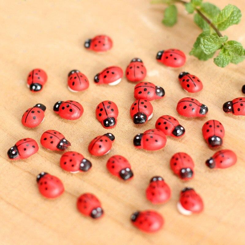 Mini Wooden Ladybug Sponge Stickers Mini Fridge Magnets For Scrapbooking Micro Landscape Decor 100pcs/bag 1.4*0.9cm