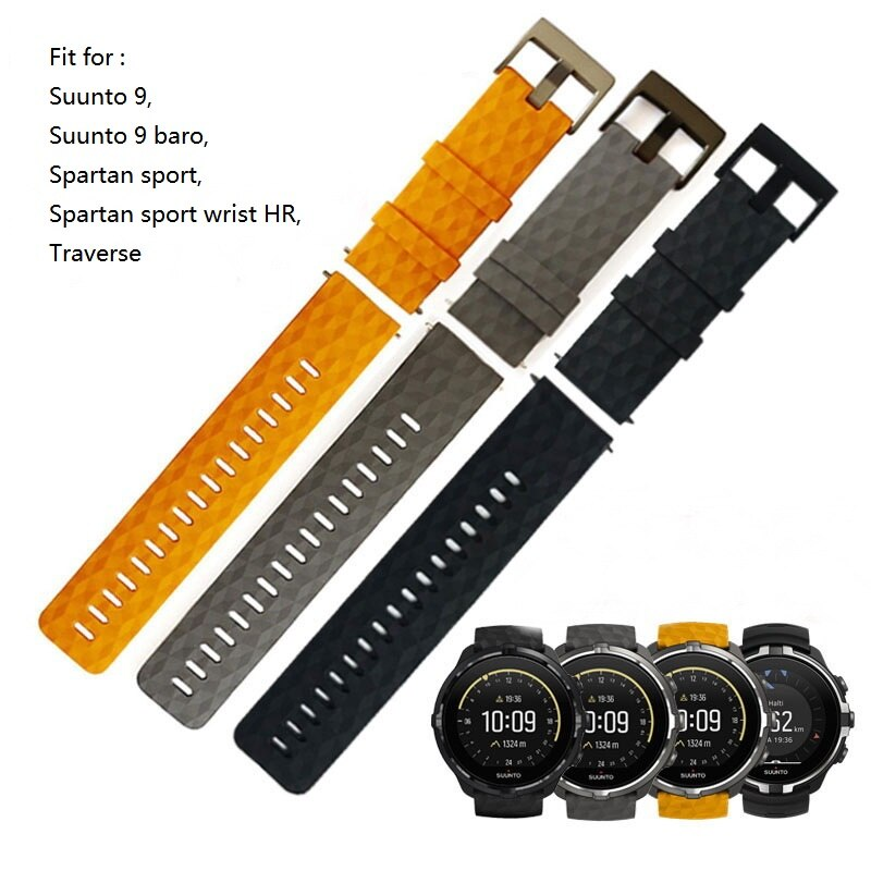 24 мм силиконовый ремешок для часов Suunto9 Spartan Sport HR Watch Band Suunto 9 Baro Quick Release Strap Traverse резиновый ремешок для часов