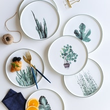 9 pouces moderne simple en céramique plat Dessert assiette petit déjeuner créatif blanc plante motif os chine dîner assiette vaisselle