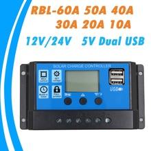 Panneau solaire Auto 24V 12V   Contrôleur de Charge de batterie 60A 50A 40A 30A 20A 10A LCD régulateur solaire avec double USB vente en gros