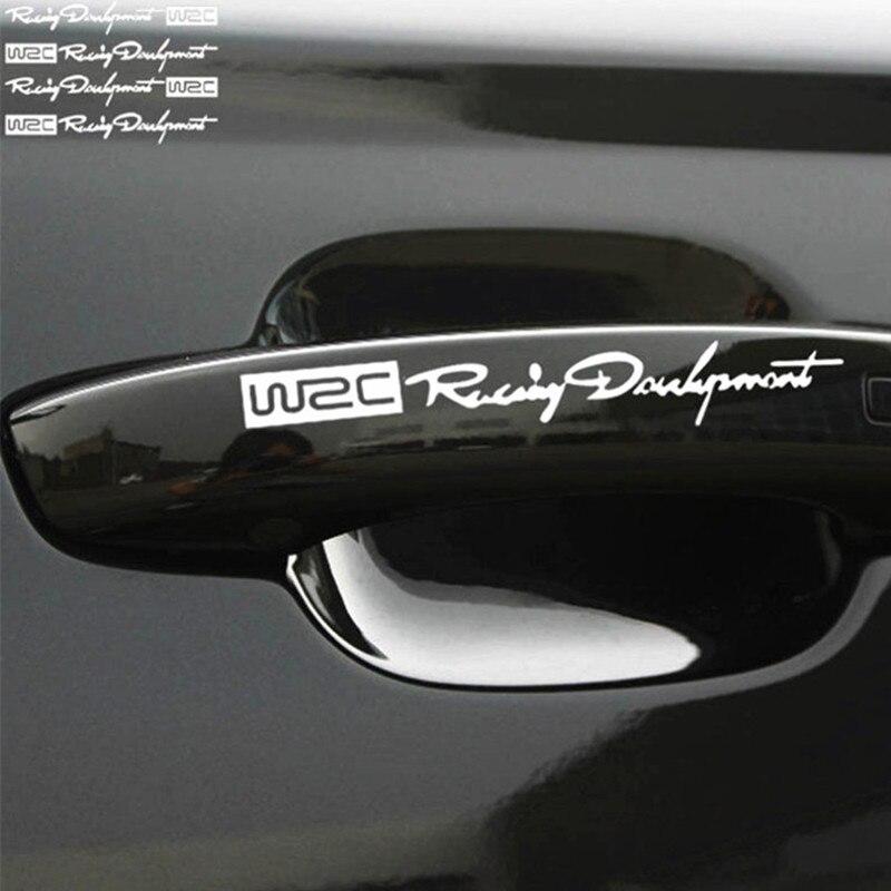 Car-styling WRC Logo Door Handle Reflective Stickers for Hyundai IX35 IX45 Sonata Verna Solaris Elantra Tucson Mistra IX25 I30