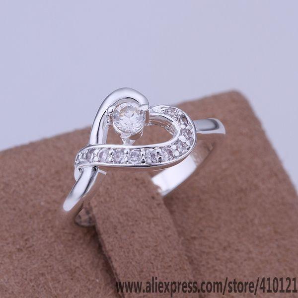 R150 anillos de plata de la suerte para mujer, joyería de moda, accesorios para mujer, envío gratis, anillos de amor de piedra incrustada de moda/dun