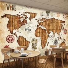 Decorative wallpaper Vintage world map wine cork wine bar background wall