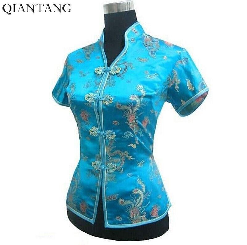 ¡Novedad! Camisa azul claro con cuello en V para Mujer, blusa de satén clásica para Mujer, estilo chino superior, talla S, M, L, XL, XXL, XXXL, Camisa para Mujer, JY044-4