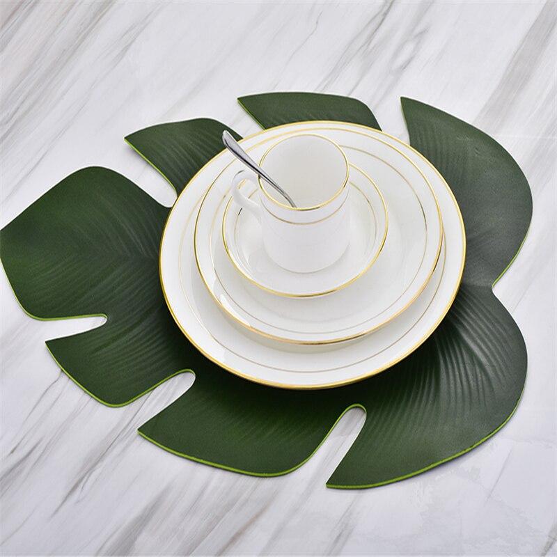 1 unidad de hojas de simulación hoja de palma EVA mesa de comedor alfombrilla antideslizante impermeable cocina mantel disco almohadillas tazón posavasos Decoración