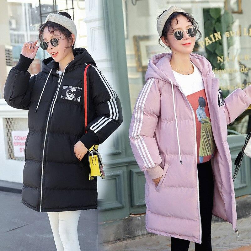 Maternidad mujeres nuevas mamás invierno de manga larga con capucha abajo de algodón Cardigan abrigo Casual de moda gruesa caliente Puffer chaquetas al aire libre