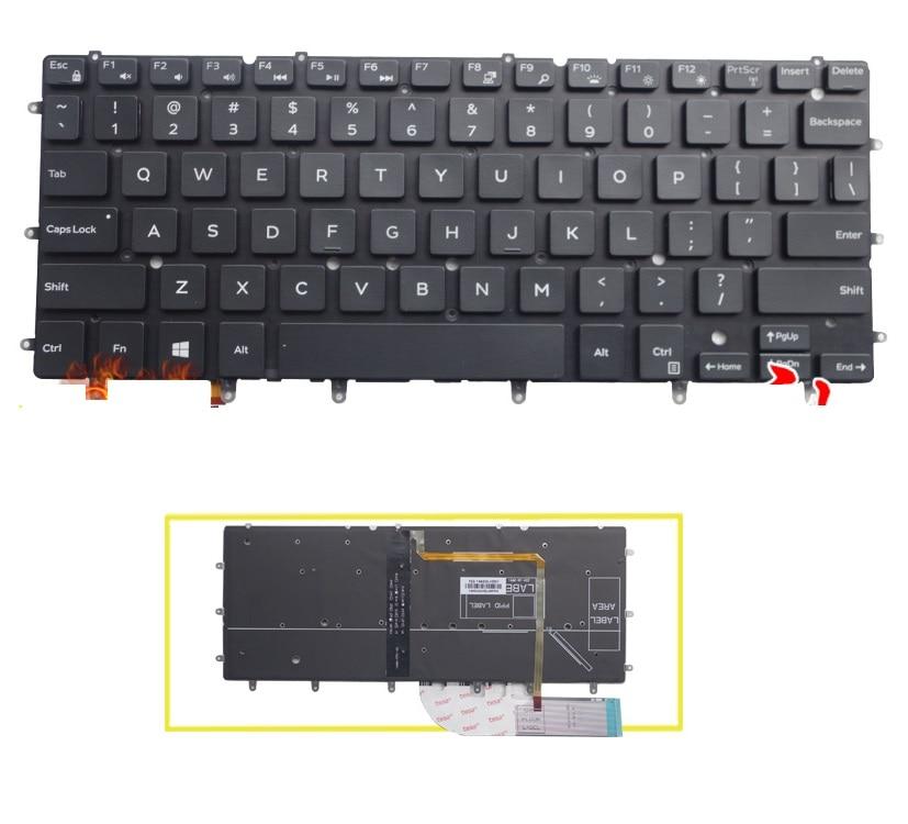 Luz de fondo nuevo teclado de EE.UU. SSEA para DELL xps 13 9343 xps 13 9350 15BR N7547 N7548 17-3000 teclado para ordenador portátil sin marco