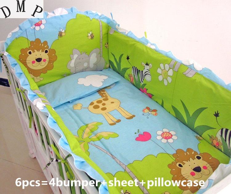 Juego de cama para bebé 6 uds kit de berço juego de cama para bebé (4 paragolpes + sábana + funda de almohada)
