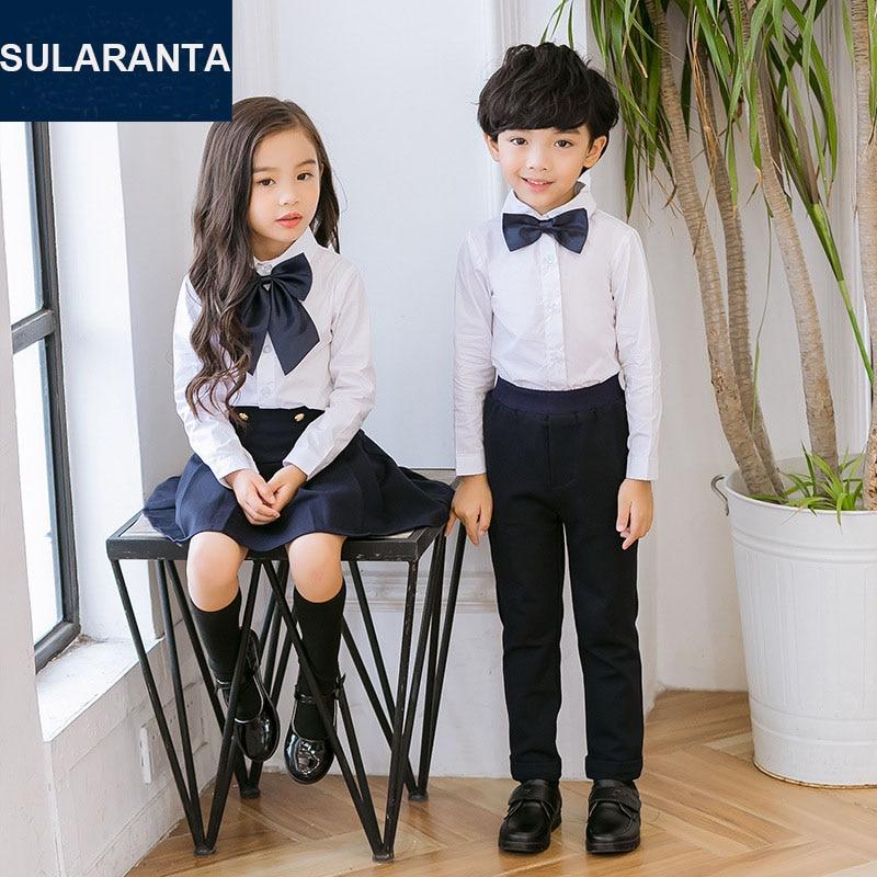 Children Cotton Japanese Korean Student School Uniforms Set Suit for Girls Boys White Shirts Navy Blue Skirt Pants Tie Clothes