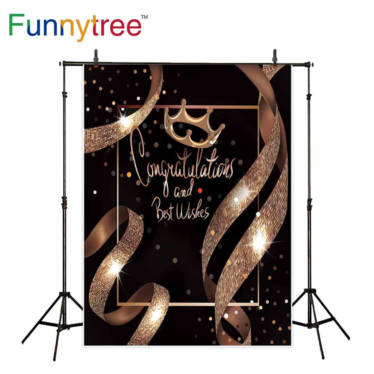 Funnytree fotografía photocall Oro Negro cinta con brillo corona marco real brillante fiesta de cumpleaños Fondo photophone