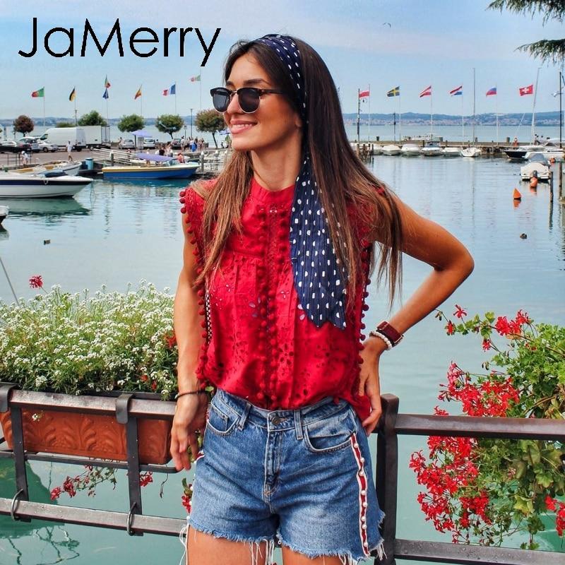 JaMerry Vintage elegant lace tank top women Embroidery red camis shirts feminina Sexy tanks tasssel pompon top female streetwear