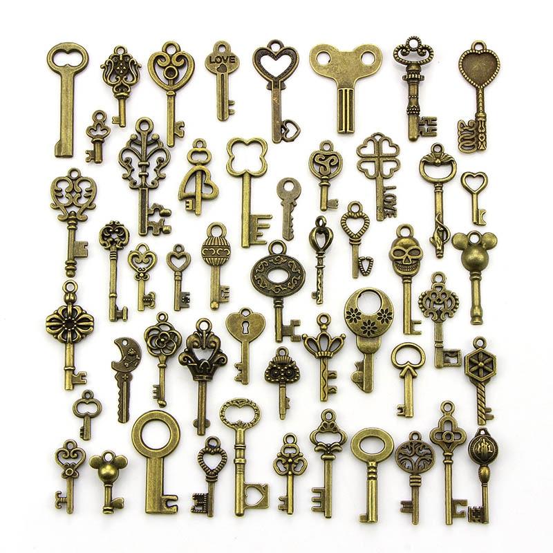 Pingentes de chave bronze antigo, pingentes pequenos da chave, decoração artesanal, charme vintage para produção de joias diy, 1 pacote/lote