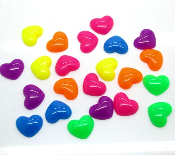 50 Uds., mezcla de decoración artesanal con corazón de resina Kawaii, cabujón con parte trasera plana, imán para nevera, álbum de recortes, accesorios DIY