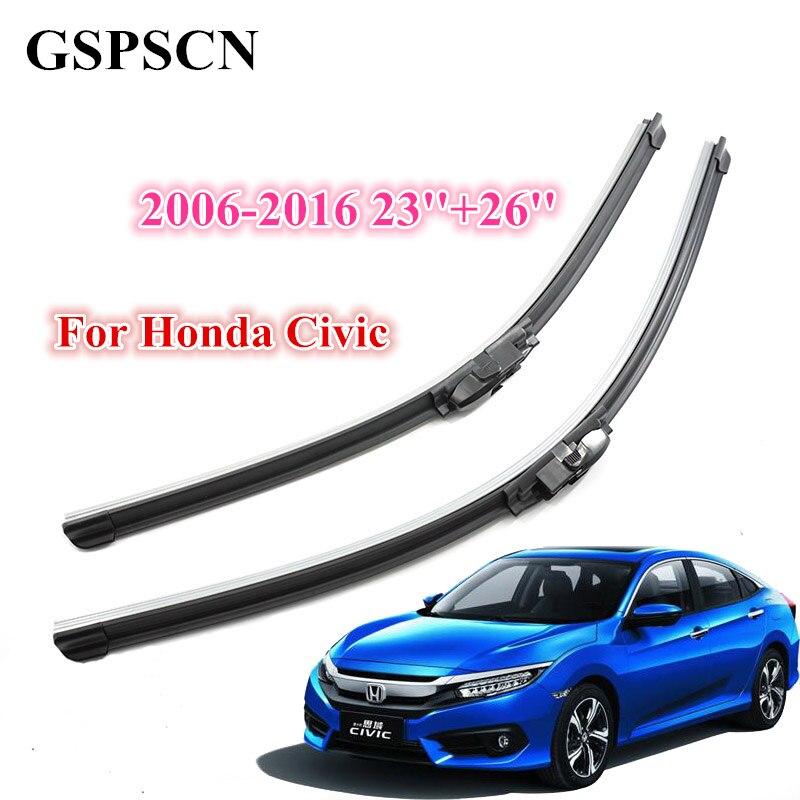 GSPSCN 2 unids/par escobilla limpiaparabrisas de coche para Honda Civic 2006-2016 limpiaparabrisas de silicona de goma de alta calidad accesorios parabrisas