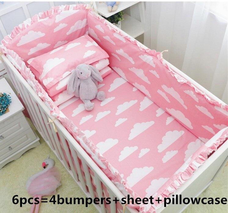 Rosa Wolke 6/7PCS protetor de berco baby krippe bettwäsche babybett baby bettwäsche set baby mädchen und jungen, 120*60/120*70cm