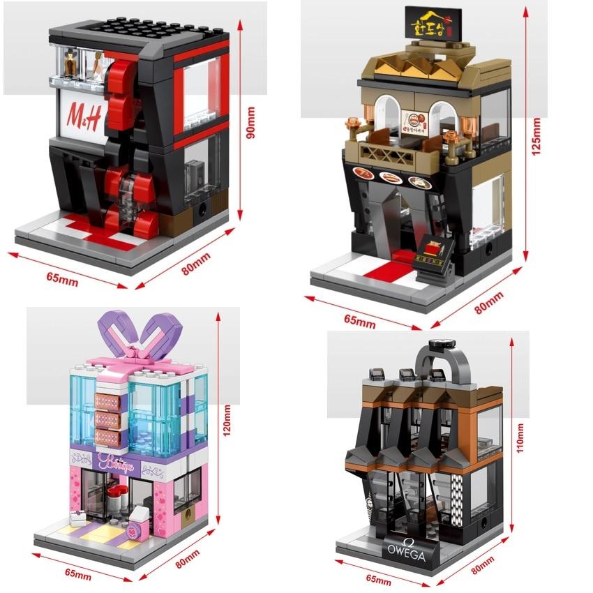 SEMBO Blöcke Kleine Shop Pissa Modell Kunststoff Gebäude Spielzeug Mini Straße Shop Super Markt Trinken Shop Kinder spielzeug Kinder Geschenke