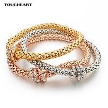 TOUCHEART 3 Pz Cristallo del Braccialetto di Fascino Femme color Oro Bracciali Braccialetti per le donne di nozze Famoso Marchio di Gioielli SBR150178