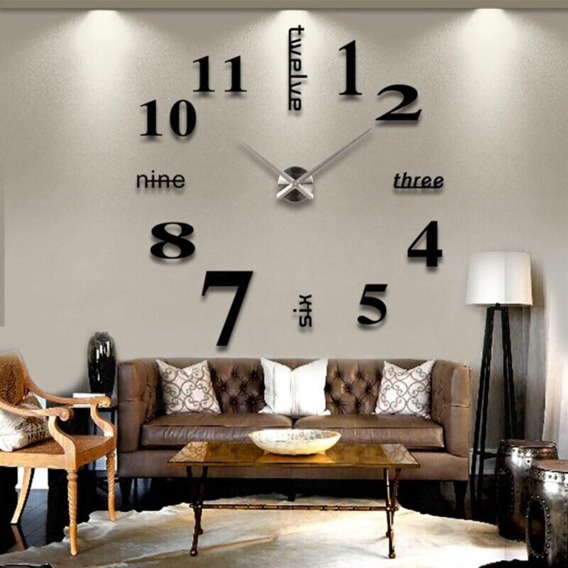 Nuevo reloj de pared grande de estilo europeo moderno DIY adhesivo para superficie de espejo 3D diseño artístico para decoración del hogar