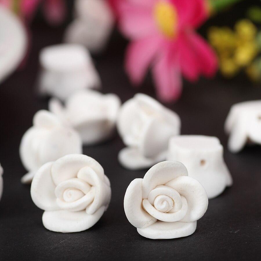 25 teil/los 12mm Weiß Handgemachte Polymer Blume Perlen Aus Ton Für Diy Gefertigt Artikel Hochzeit Braut Haar Schmuck berloque zubehör