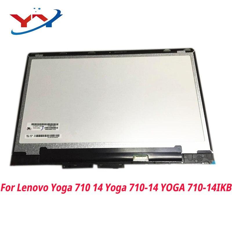 مجموعة شاشة لمس LCD LED ، لجهاز Lenovo Yoga 710 14 Yoga 710-14 ، 710-14IKB ، بإطار ، للكمبيوتر المحمول