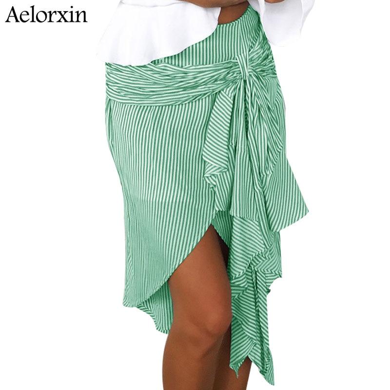 Aelorxin 2019 Faldas de verano para mujer tiras de la raya corbata de lazo alto irregular Falda midi de cintura Jupe Faldas de talla grande, S, M, L, XL Vestidos