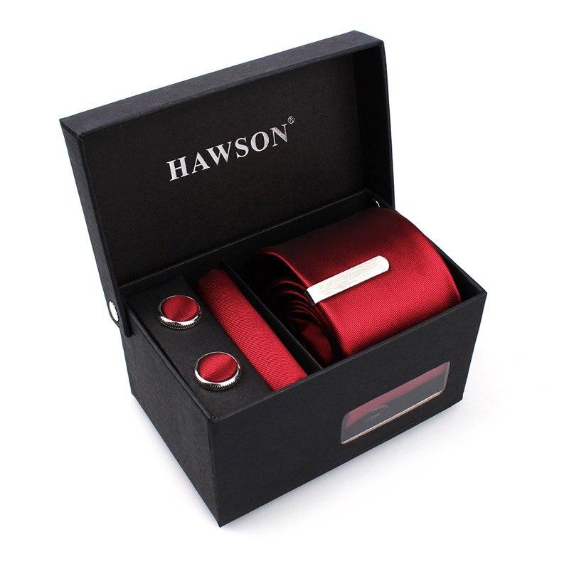 HAWSON Red Cufflinks and Tie  Clip Silk Tie  Set Fashion  Necktie Skinny Slim Ties for Grooms Wedding or Bussiness