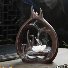 Buddha Hand Backflow Incense Burner Smoke Waterfall Lotus Flower Stick Incense Holder Meditation Ceramic Aromatherapy Censer