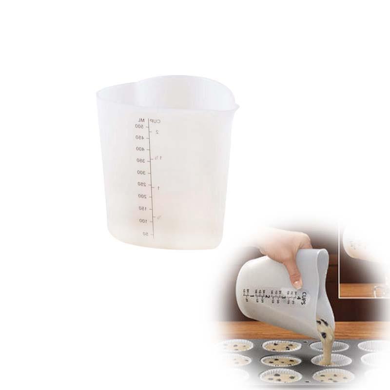 Utensilios de cocina taza medidora de alimentos de silicona con forma de corazón de 500 ML para vaso graduado utensilios medidores de cocina