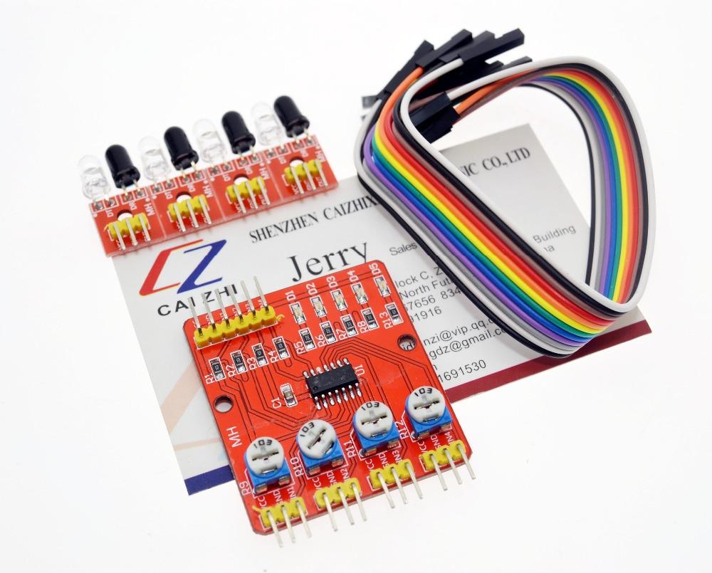4-канальный инфракрасный детектор для отслеживания, модуль датчика для Arduino, Diy, автомобильный робот