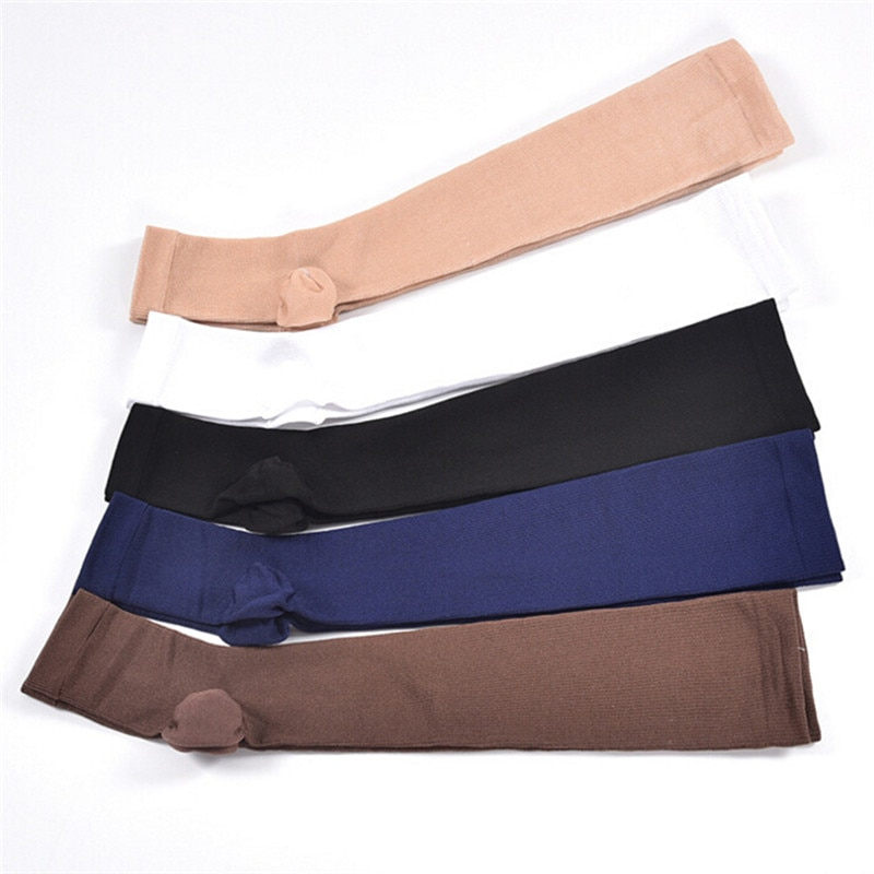 1 par de calcetines de compresión de nivel hasta la rodilla con punta abierta, calcetines para várices, calcetines para dormir sin dedos elásticos médicos