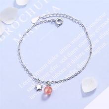 Única memoria Natural fresa cristal fresco Linda estrella Plata de Ley 925 mujeres pulseras ajustables SBR179