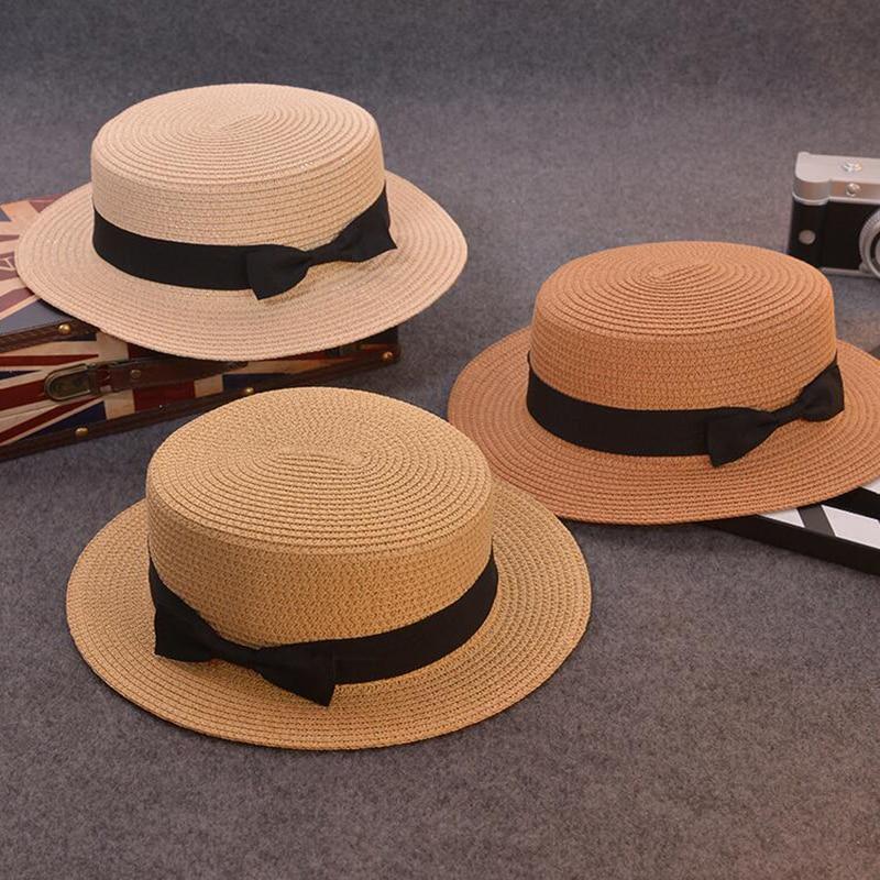 Moda pai-filho chapéu de sol bonito crianças sol chapéu arco feito à mão mulheres palha cap praia big brim chapéu casual glris chapéu de verão