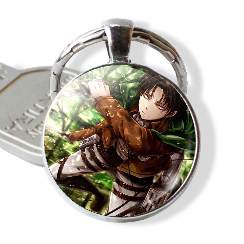 LLavero de Anime Attack on Titan Levi Rivaille, regalo de Cosplay, llavero de cabujón de cristal, llavero de coche, joyería de dibujos animados