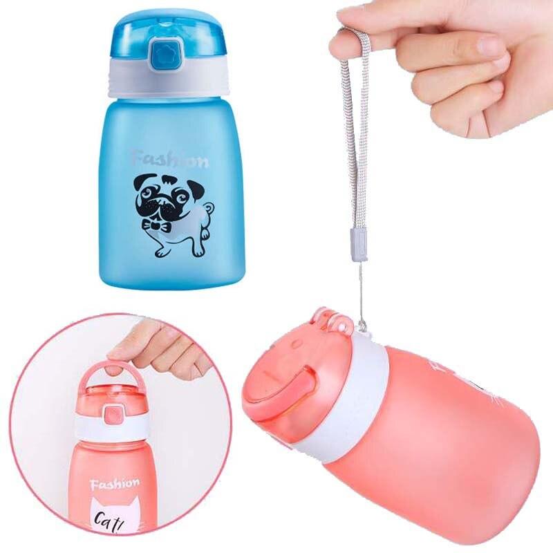 1 pcs Baby Kid Não-derramamento de Garrafa Caneca com Palha Garrafa de água Dobrável de Palha Criança Copo Sipper Garrafa De Alimentação copo de treinamento 430 ml