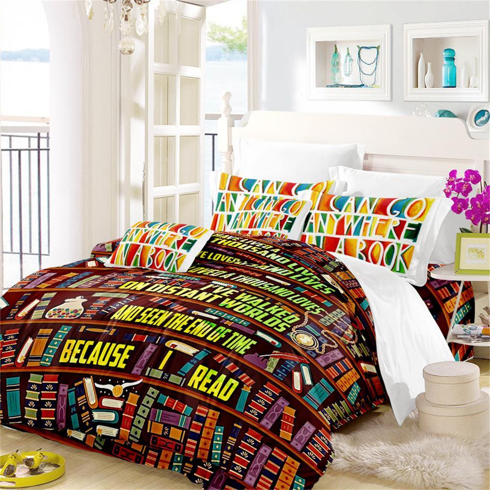 Juego de cama colorido con estampado de estantería, juego de edredón con estampado de letras, funda de cama de dibujos animados para aficionados al aprendizaje, 3 uds D49