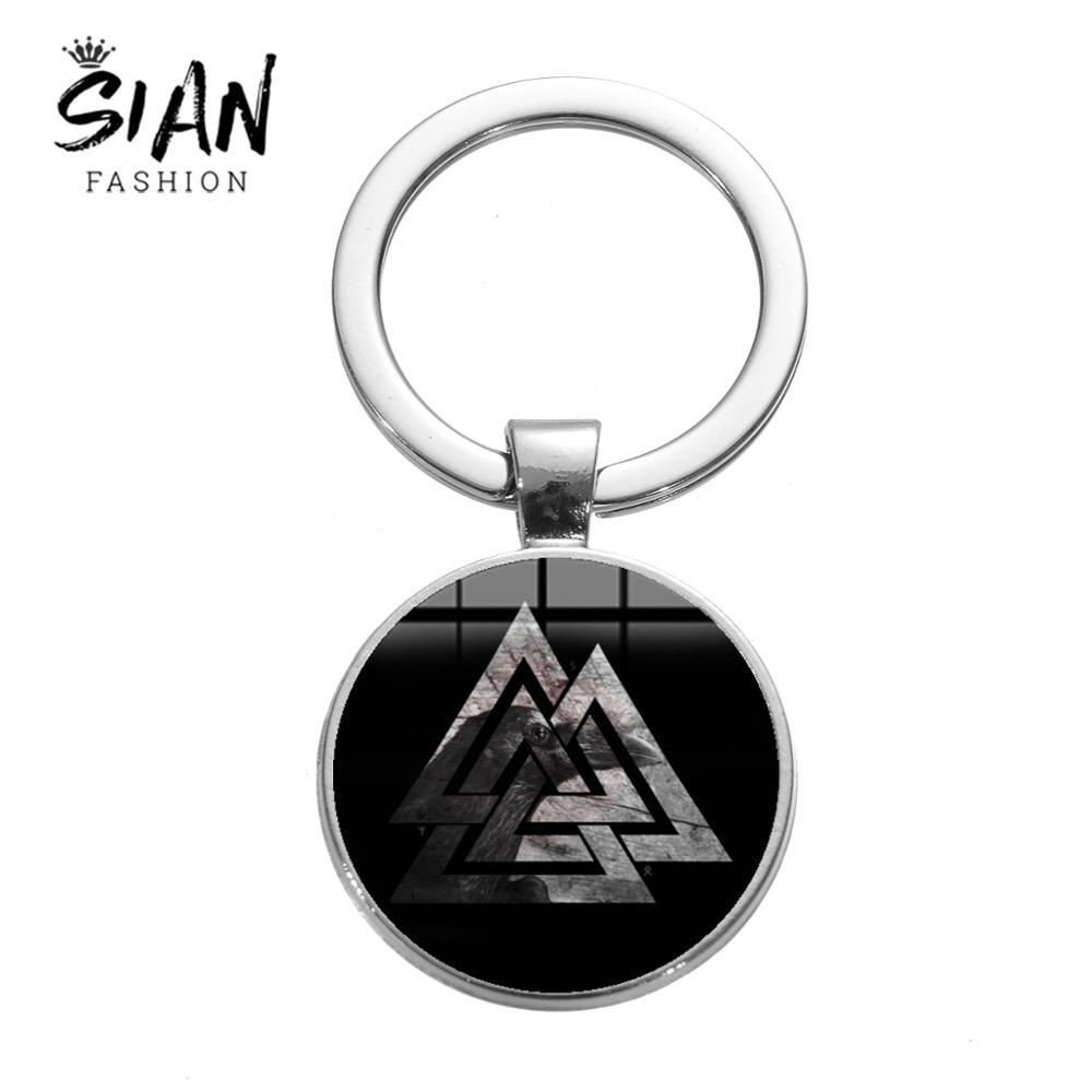 SISCHEN Pagan Amulett Charme Keychain Slawischen Norwegen Valknut Viking Totem Glas Runde Metall Schlüssel Kette Odin der Symbol von Nordischen krieger
