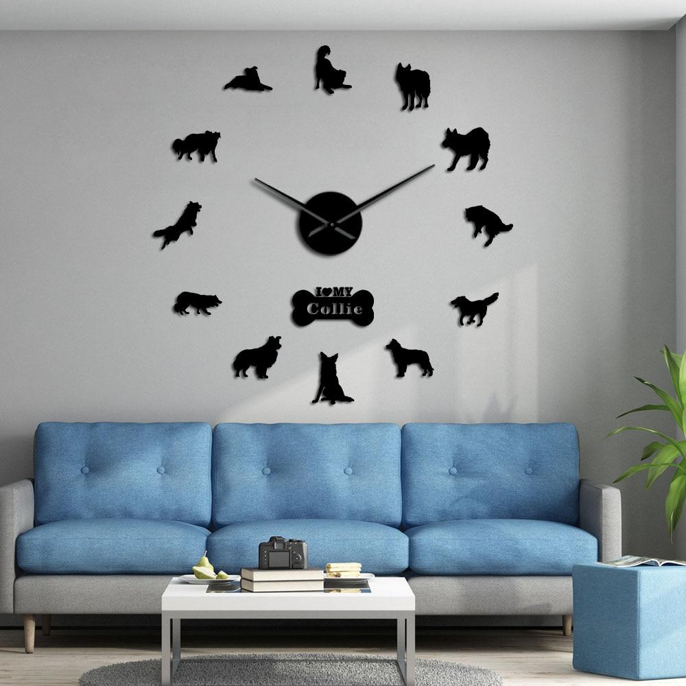 Autocollant mural sans cadre   Autocollant mural, bordure Collie Silhouette, horloge murale géante, décor maison, chien berger écossais, patte de chien, diy