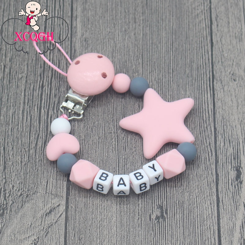 XCQGH Personalized Name Handmade Pacifier Clips Holder Chain Silicone Pacifier Chains Five Star Baby Teether Teething Chain