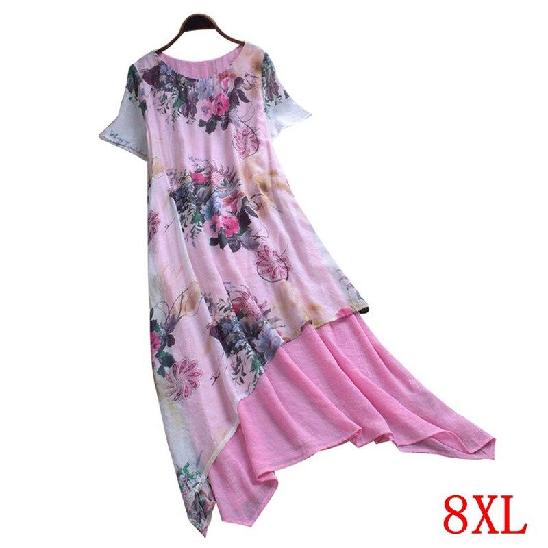 Tamanho grande vestido feminino plus size 5xl 6xl 7xl 8xl verão elegante em torno do pescoço manga curta solta casual grande tamanho rosa robe