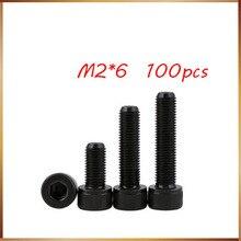 100pcs/Lot Metric Thread DIN912 M2*6 mm Black Grade 12.9 Alloy Steel Hex Socket Head Cap Screw Boltsstainless bolts,nails