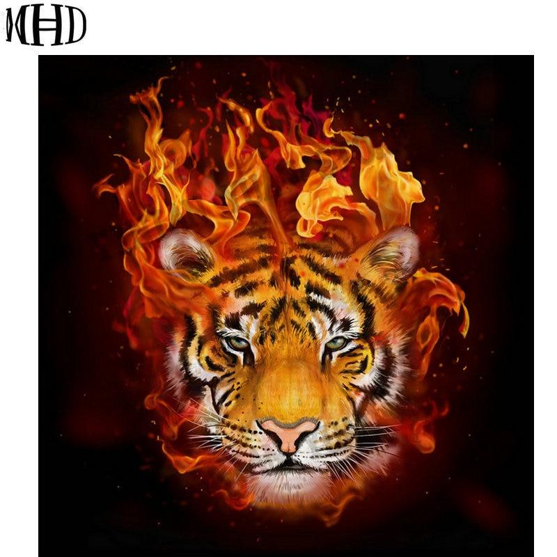 MHD nuevo diamante 3D punto de cruz cabeza de Tigre, Diamante de imitación, Diamante Redondo y lleno, Diamante incrustación fuego cabeza de Tigre, decoración DIY