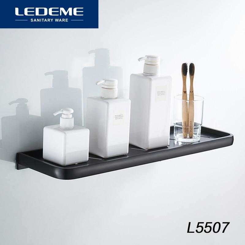 LEDEME Single Bath Shelf Tier Lacquered Corner Shelf Shower Bathroom Shelves Wall Mounted Shampoo Aluminum Shelf 50cm L5507